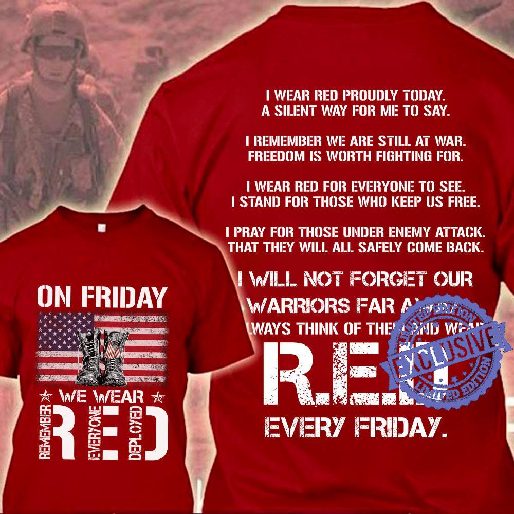 On friday we wear red shirt