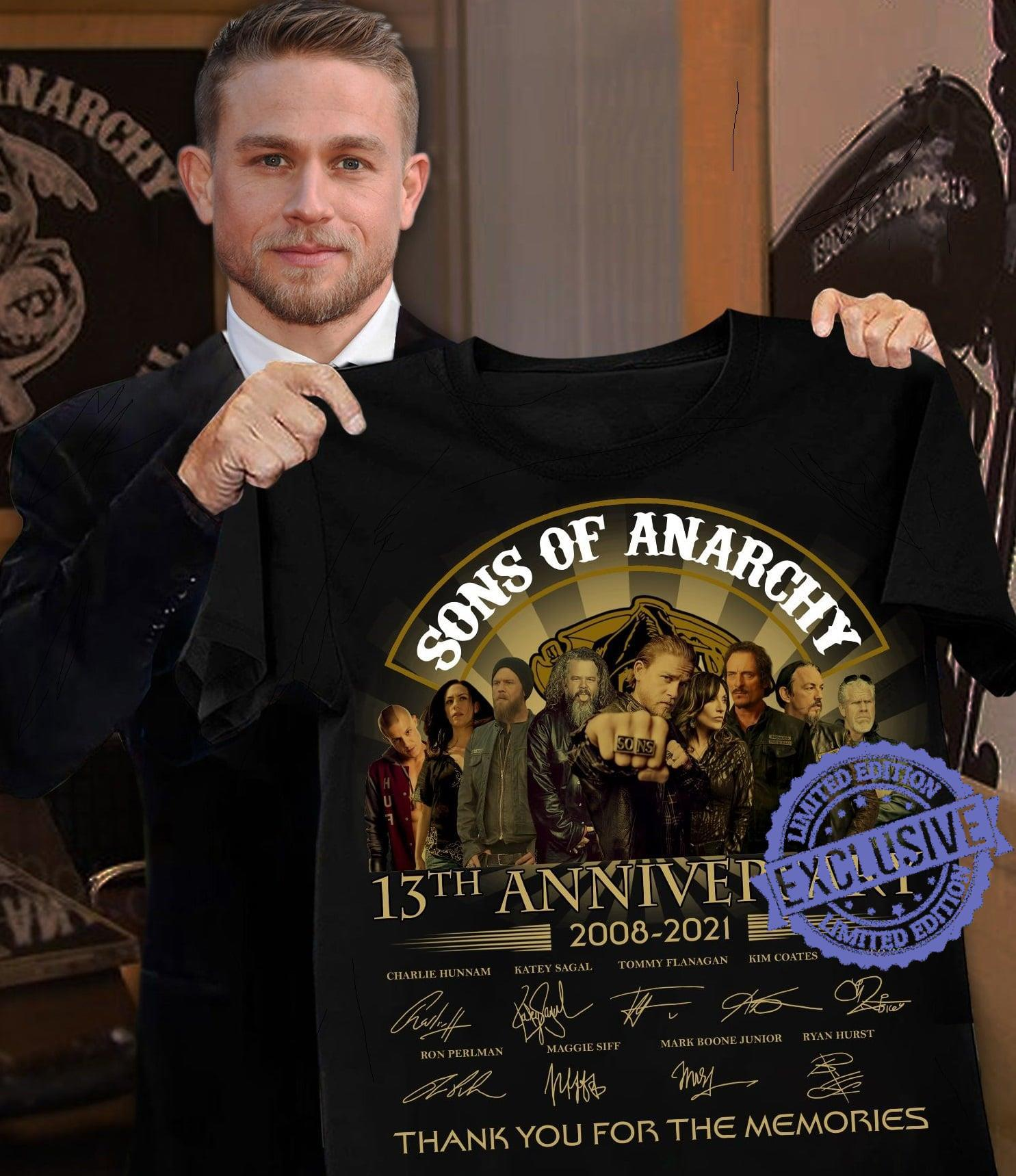 Sons of anarchy 13th anniversary 2008 2021 thank you for the memories shirt
