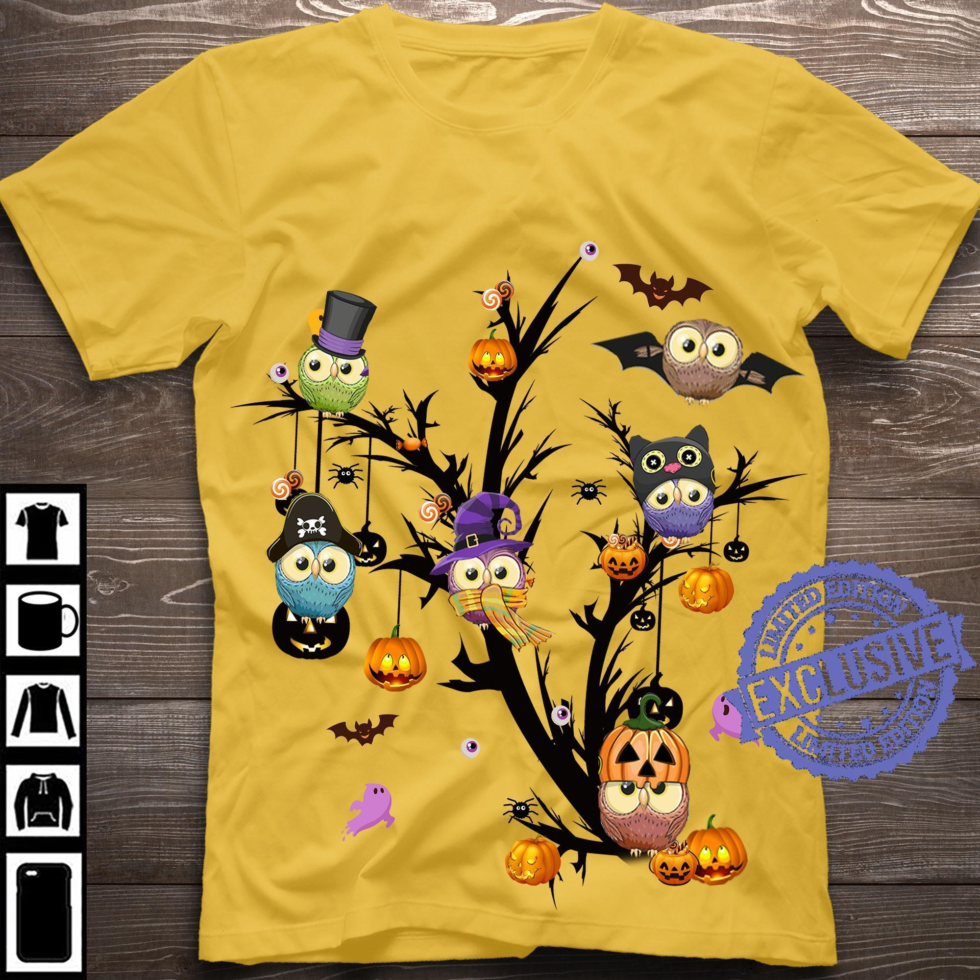 Owls tree halloween shirt