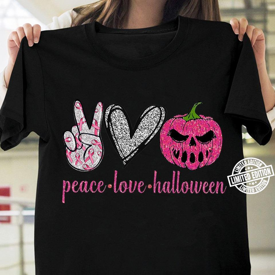 Peace love halloween pink shirt