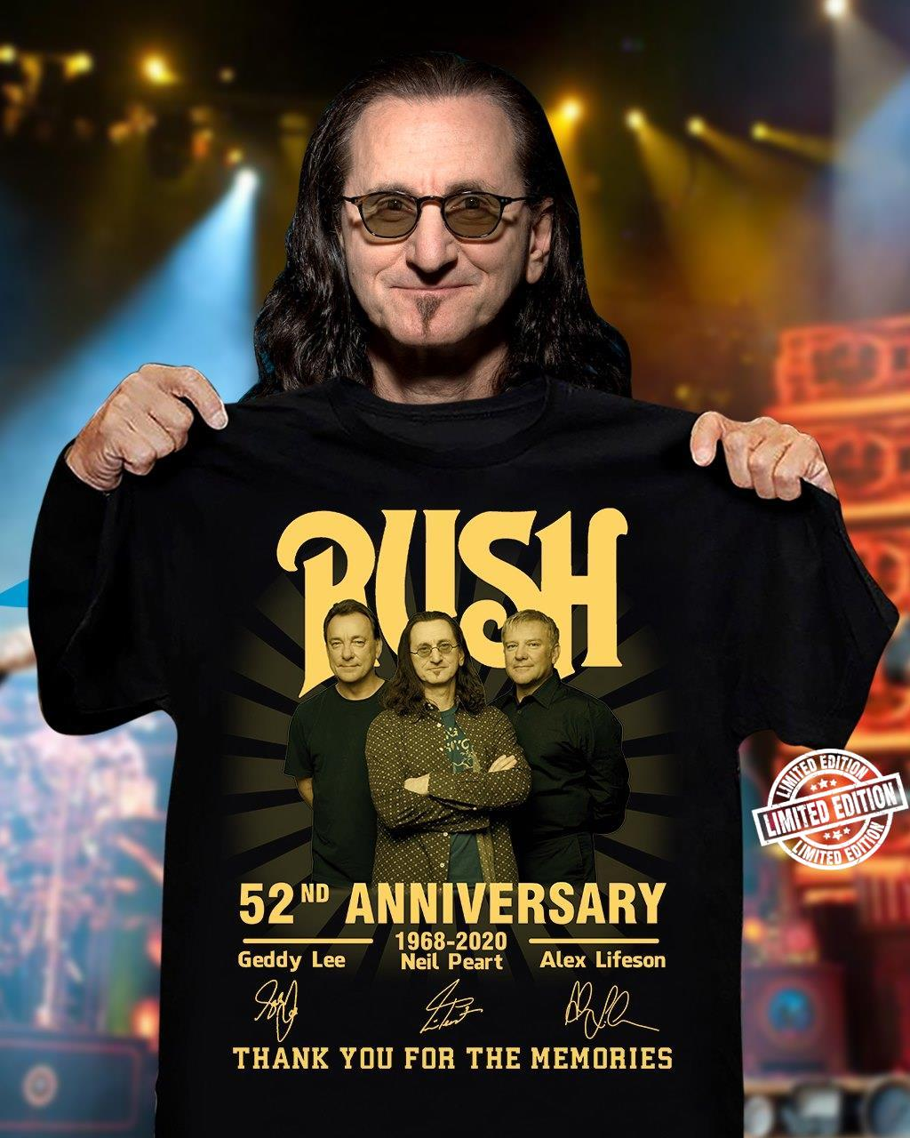 Rush 52nd anniversary thank you for the memories shirt