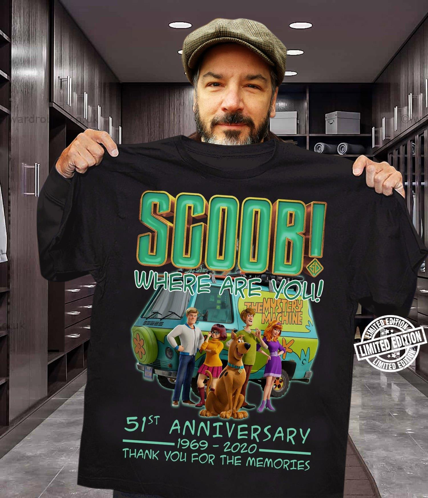 Scoob where are you 51st anniversary 1969-2020 thank you for the memories shirt
